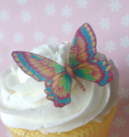 36x Rainbow EDIBLE wafer butterflies butterfly cupcake toppers (uncut)