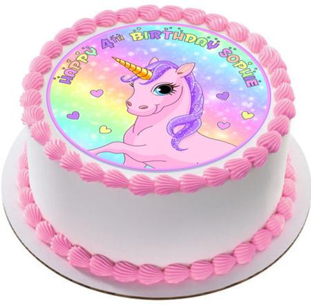 Rainbow Pink Unicorn Icing  Personalized Circle Cake Topper