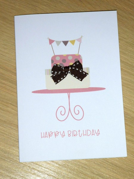 Female Happy Birthday card - cake with bunting