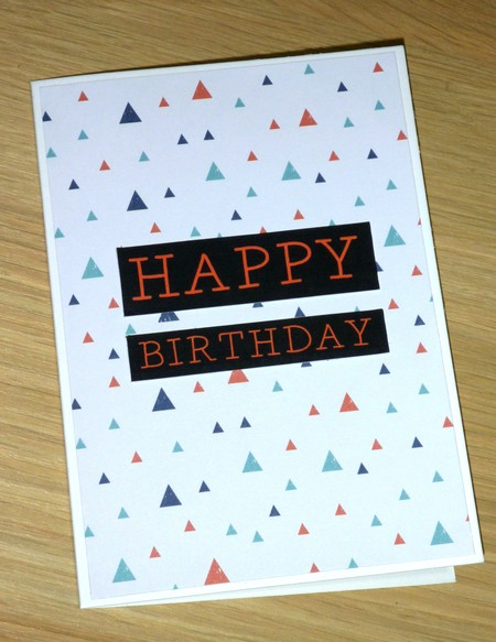 Male Happy Birthday card - triangle print