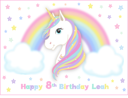 Magical Unicorn Rectangle Edible Icing  Personalized  Cake Topper