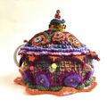 Embellished crochet tea cosy reserved for Jan. multiple colours. painted  beads.