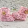 Pink Crochet Baby Booties Pregnancy Announcement Baby Reveal