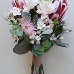 Australian Native Flowers Bridesmaid Bouquet - Protea, Gum Nuts, Eucalyptus
