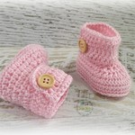 Pink Crochet Baby Booties Pregnancy Announcement Baby Reveal