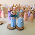 Timber Peg Doll Easter Rabbits - Blue