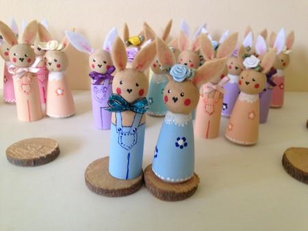 Timber Peg Doll Easter Rabbits - Blue