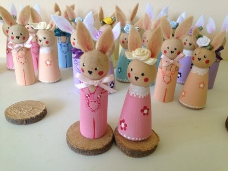 Timber Peg Dolls Easter Rabbits - Pink