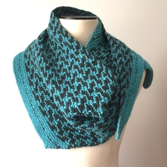 Wool - Silk - Mohair Scarf , FREE POST, Hand-Knit, Teal Green / Charcoal