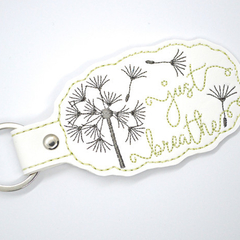 Just Breathe Embroidered  Keyring