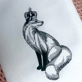 Embroidered Tea Towel Set - Fox in Crown and Chipmunk in Crown