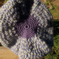 child's crocheted beret, pure wool, purple, green and blue
