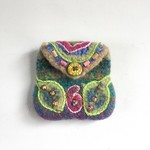 Unique handmade embellished 'leaf'coin purse. Colourful. Embroidered. Beaded.