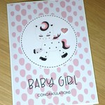 Baby Girl card - baby unicorn