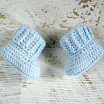 Baby Blue Newborn Crochet Baby Booties Shoes Socks Pregnancy Baby Reveal