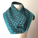 Wool - Silk - Mohair Scarf Neck Accessory, Hand-Knit, Teal Green / Charcoal