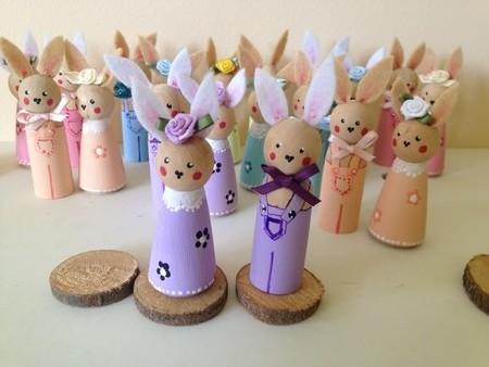 Easter Bunnies Peg Doll Rabbits set of 2