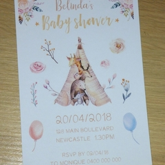 Boho Baby Shower Invitations - Set 10