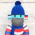 'Ted' the Sock Monkey -blue red aqua grey black & white stripes -*READY TO POST*