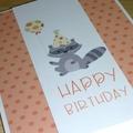 Girls Happy Birthday card - raccoon with balloon