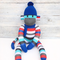 'Ted' the Sock Monkey -blue red aqua grey black & white stripes -*READY TO POST*