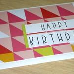 Female Happy Birthday card - triangles