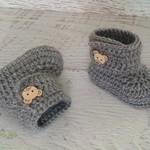 Grey Crochet Baby Booties Pregnancy Announcement Baby Reveal