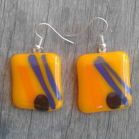 Fuseglass earrings - Summer Sport
