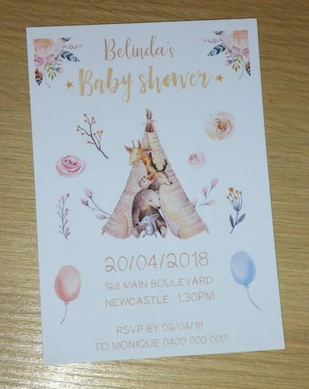 Boho Baby Shower Invitations - Set 10