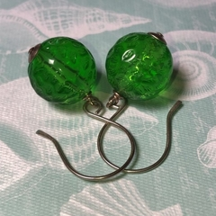 Granny Smith...Sterling Silver and Vintage Lucite Earrings