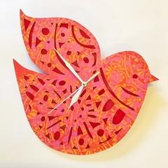 Nordic Bird stencilled clock