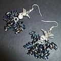 Silver bird and Magatama glass beads earrings
