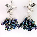 Silver bird and Magatama glass beads earrings