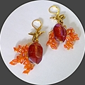 Gold, pink and orange glass earrings