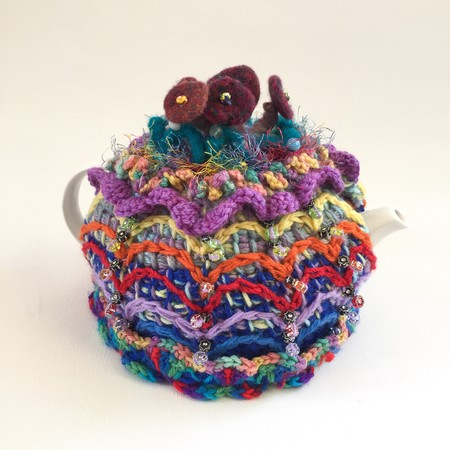 Colourful embellished crochet tea cosy. Beads. Felt. Fluff. One of a kind.