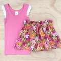 Skirt - Floral - Pink - Yellow - Retro - Cotton - Sizes 1-5