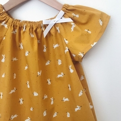 Smock Top - Mustard Bunnies - Easter - Peasant Top - Size 3-6