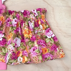 Size 2 - Skirt - Floral - Pink - Yellow - Retro - Cotton