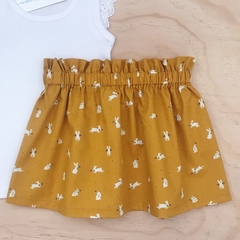 Size 2 - Skirt - Mustard Bunnies - Rabbits - Easter - Girls