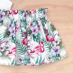 Size 3 - Skirt - Flamingo - Retro - Cotton - Tropical