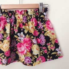 Size 3 - Skirt - Navy Floral - Pink - Yellow - Retro - Cotton
