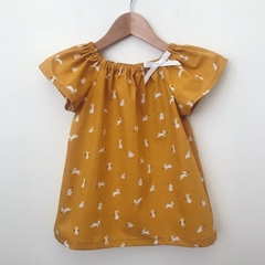 Size 1 - Smock Top - Mustard Bunnies - Easter - Peasant Top -