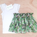 Size 3 - Skirt - Palm Leaves - Retro - Cotton - Girls