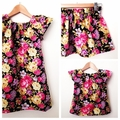 Size 3 - Smock Dress - Peasant Dress - Retro Floral - Navy - Pink -