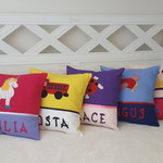 Girls Personalised Appliqued Cushion Covers - VARIOUS DESIGNS Available