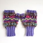 Embellished knitted women's fingerless gloves. Purple/brown/pink. painted beads