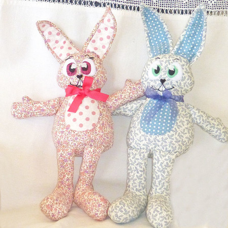 Easter Sale: Billie and Beau, the bunny twins, softie, rabbit, child's gift