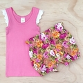 Size 3-4 Flutter Singlet - Girls top - Pink - Lace Sleeves