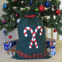 Childs Personalised Christmas Santa Sack - Candy Canes