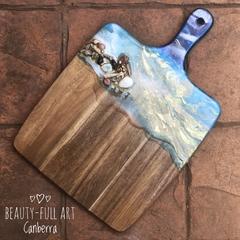 Ocean Resin Art Serving Board, Coastal Decor Cheese Board.
